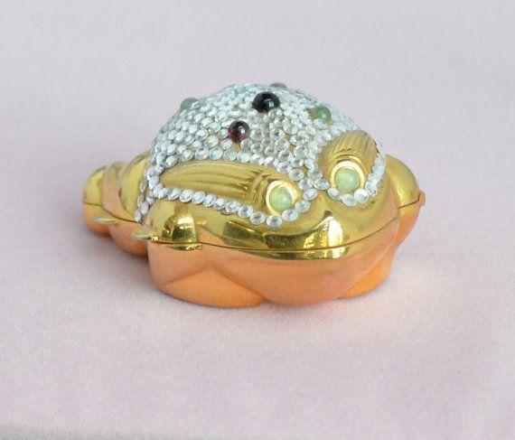 """Vintage JUDITH LEIBER Swarovski Crystal """"Frog"""" Pill Box RARE op Etsy, 298,15 €"""