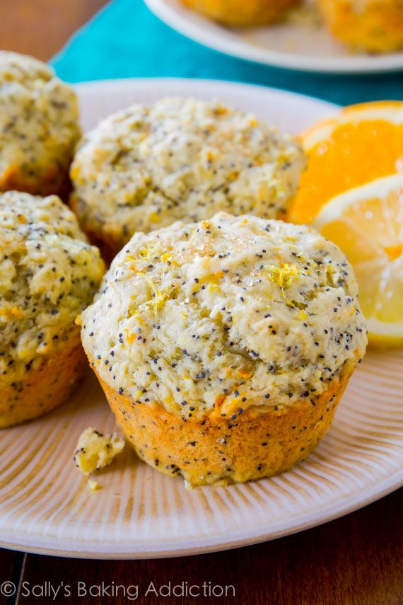 Orange Lemon Poppy Seed Muffins - moist, sweet, and full of citrus flavor. No mixer required!