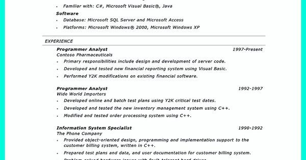 Create Your Astonishing Business Analyst Resume and Gain the - computer programmer analyst sample resume