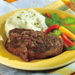 Peppercorn-Seasoned Steaks with Mustard-Wine Sauce!