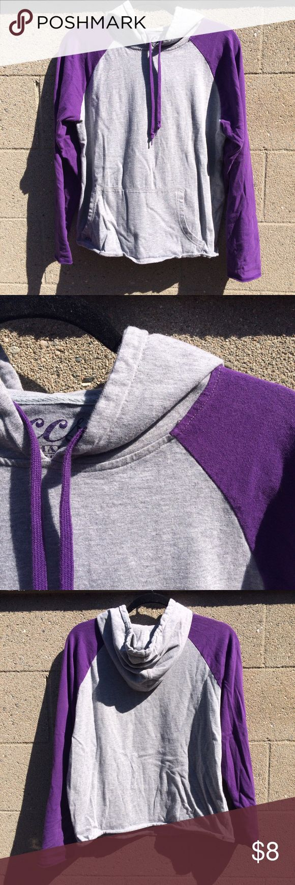 Baseball Tee Lightweight Hoodie Gray and purple color. Great condition. From a skate clothing brand called CCS, I don't remember if it was women's or men's size, I presume it's unisex because I'm a women's size small and it fits perfectly. Long sleeve. Hoodie with adjustable strings. Double sided front pocket. Lightweight sweater top. Tops