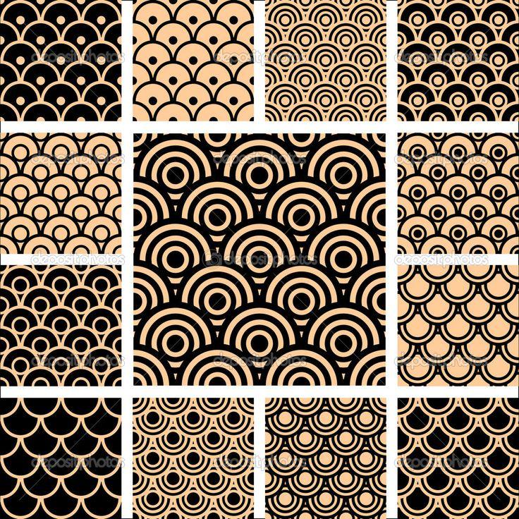 Baixar - Conjunto de padrões geométricos sem emenda — Ilustração de Stock #4919240