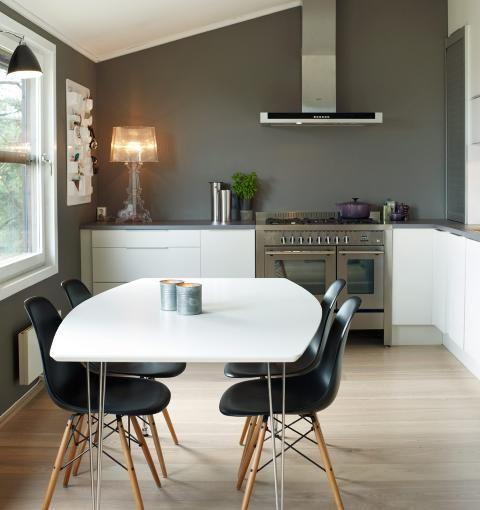DEMPET NORDISK: Alle vegger er malt i grått, mens innredningen er hvit. Lampa på kjøkkenbenken myker opp det stramme utrykket. Ønsker du et mer «bohemsk» preg kan du innrede med møbler og lamper i denne stilen. Foto: Sveinung Bråthen
