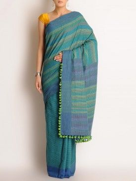 Green-Blue Cotton Kantha Embroidered Saree