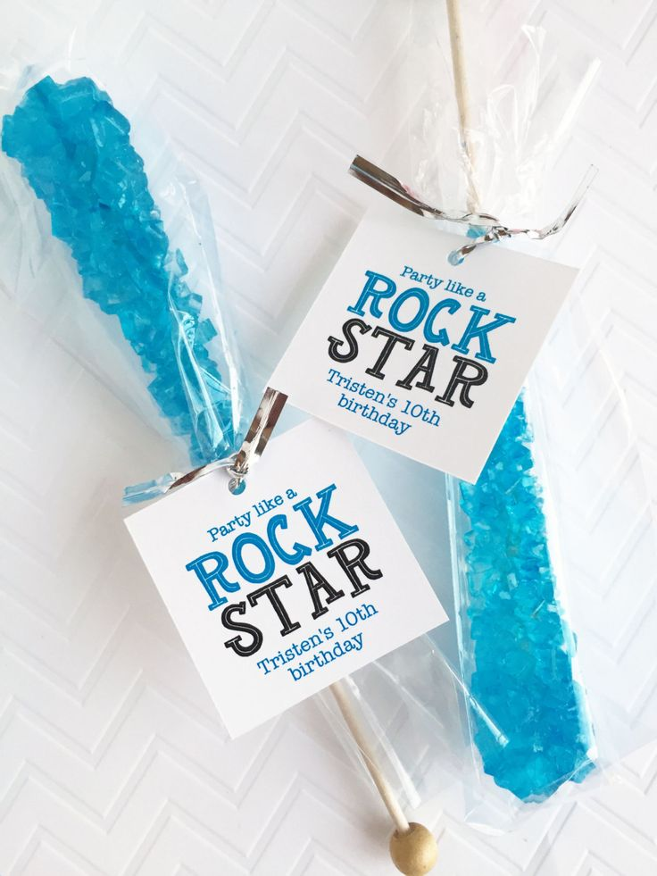 Party Like A Rock Star, Rock Candy Favor Tags, Rock Climbing Party, Candy Favors, Party Favors, Favor Tags, Kids Party, Birthday Party by InvitedToo on Etsy