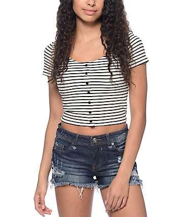 Empyre Oslo Black & White Stripe Crop T-Shirt