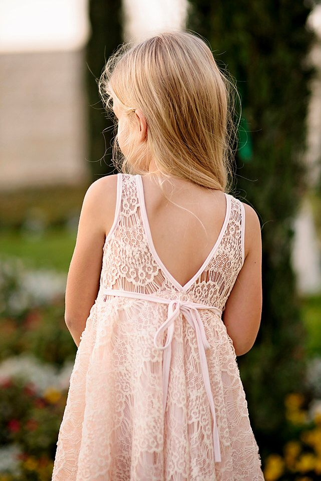 Blush Lace Flower Girl Dress by Bubale1 on Etsy https://www.etsy.com/listing/212372794/blush-lace-flower-girl-dress