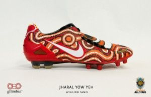 NRL Indigenous Boots All Stars Painted by GIlimbaa - Jharal Yow Yeh