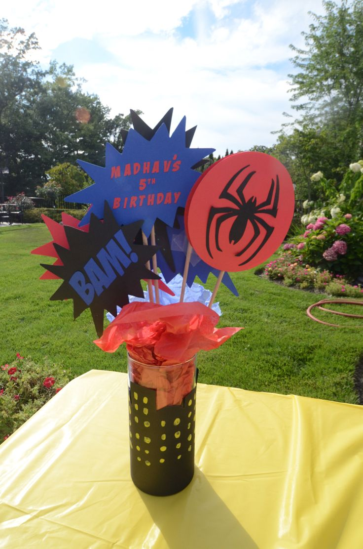 Spider-Man centerpiece by Cre8tive Parties (www.cre8tiveparties.com)
