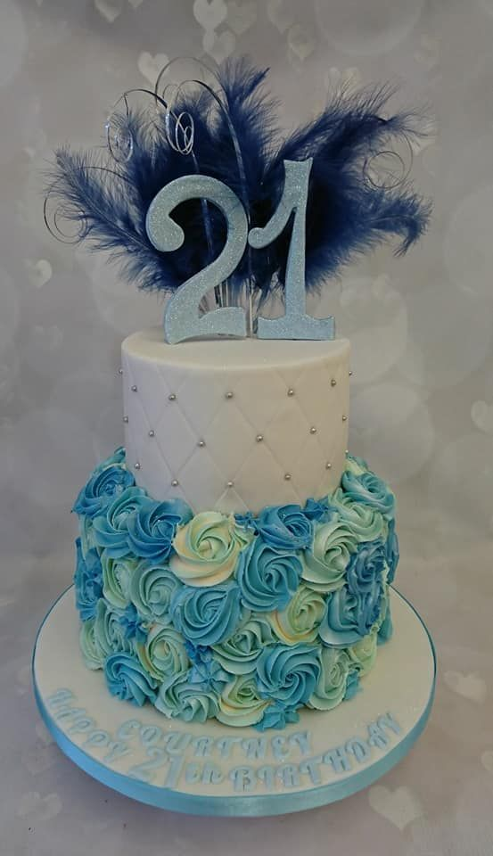 Ladies 2 Tier 21st Birthday Cake