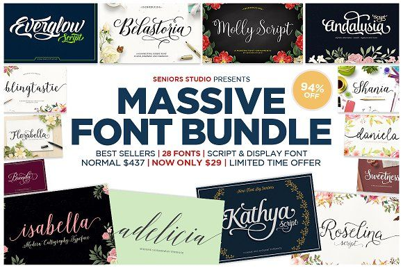 94% OFF - Massive #Font Bundle ( #calligraphy #typography #lettering #quotes #branding #bloggers #handwriting #watercolor #typeface #vintage #feminine #romantic #logodesign )
