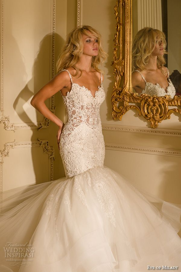 eve of milady boutique spring 2016 bridal spagetti strap sweetheart necklne lace embroidered bodice trumpet mermaid wedding dress style1557