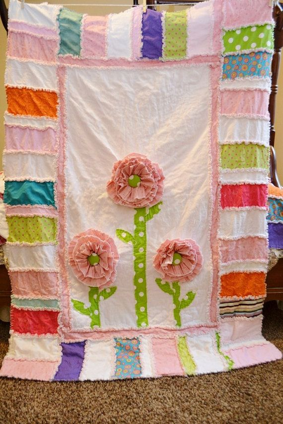 Rag Quilt Pattern Ruffled Flower Modern Sewing Mailed