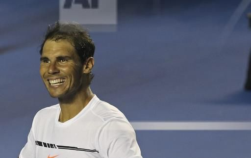 Spain's Rafael Nadal smiles after defeating Croatia's Marini Cilic during a semifinal match of the Mexican Tennis Open in Acapulco, Mexico, Friday, March 3, 2017. Nadal routed Cilic 6-1, 6-2, to advance to the Mexican Open final.(AP Photo/Enric Marti)