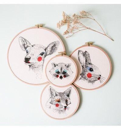 """Raton laveur - Sérigraphie sur tambour de broderie - """"Painted Animals"""""""