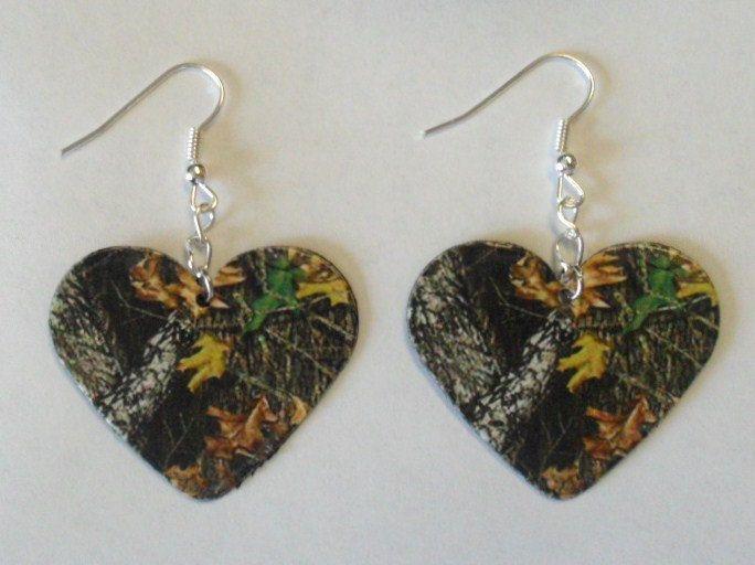 Mossy Oak Camo Camouflage Heart shaped earrings country girl love jewelry. $8.00, via Etsy.
