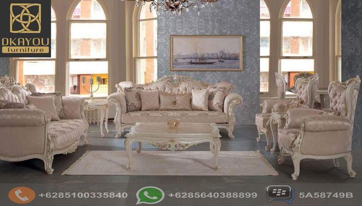 Set Sofa Tamu Jepara Model Terbaru Putih Mewah, Set Sofa Tamu Mewah
