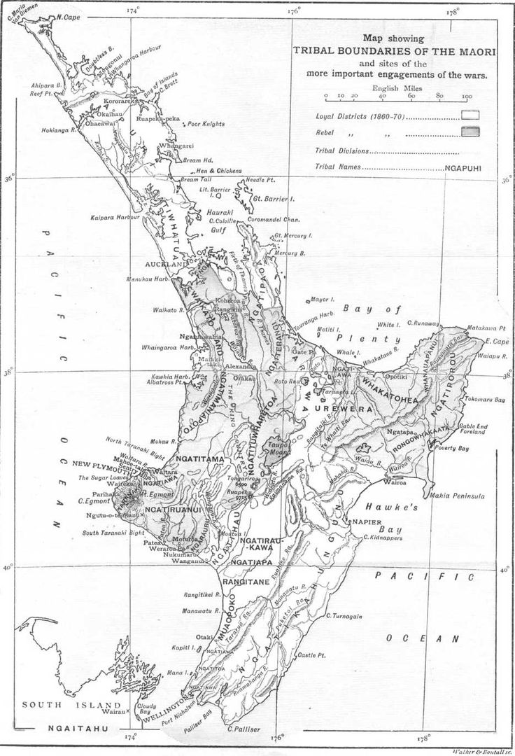 Map showing Maori tribal boundaries in the North Island of New Zealand