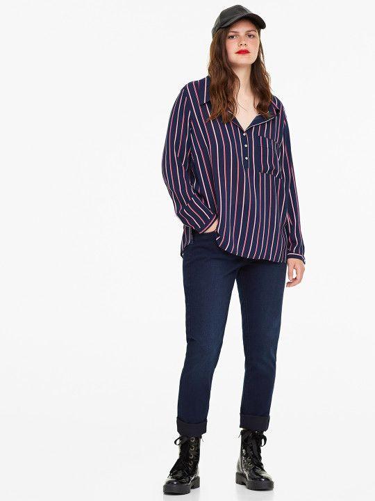 ce38ee4148e92 OVS Women Navy Blue Striped Shirt Style Top -
