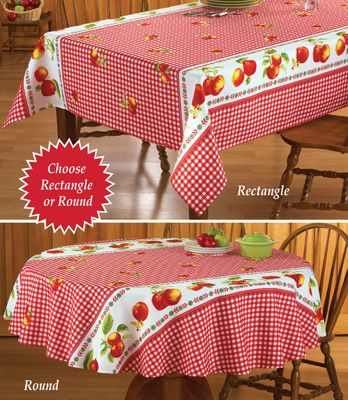 Red Gingham Apple Kitchen Tablecloth Apple Kitchen