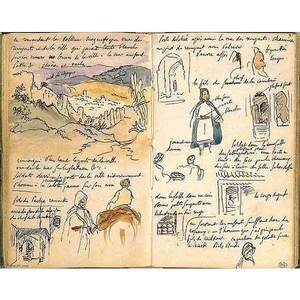 Moroccan Notebook, by Eugène Delacroix found on Polyvore