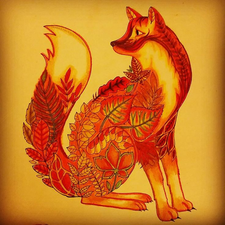 """#adultcoloringbook  #johannabasford #enchantedforest #fox"""