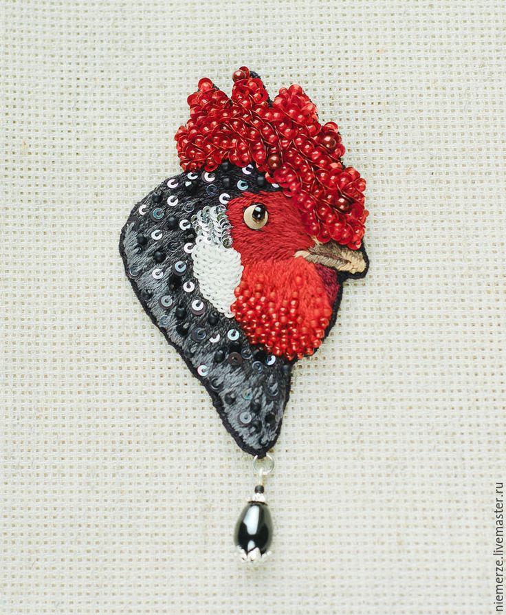 """Купить Вышитая брошь петух """"Gallus"""" - брошь птичка, вышитая брошь, rooster, black, brooch, handmade"""