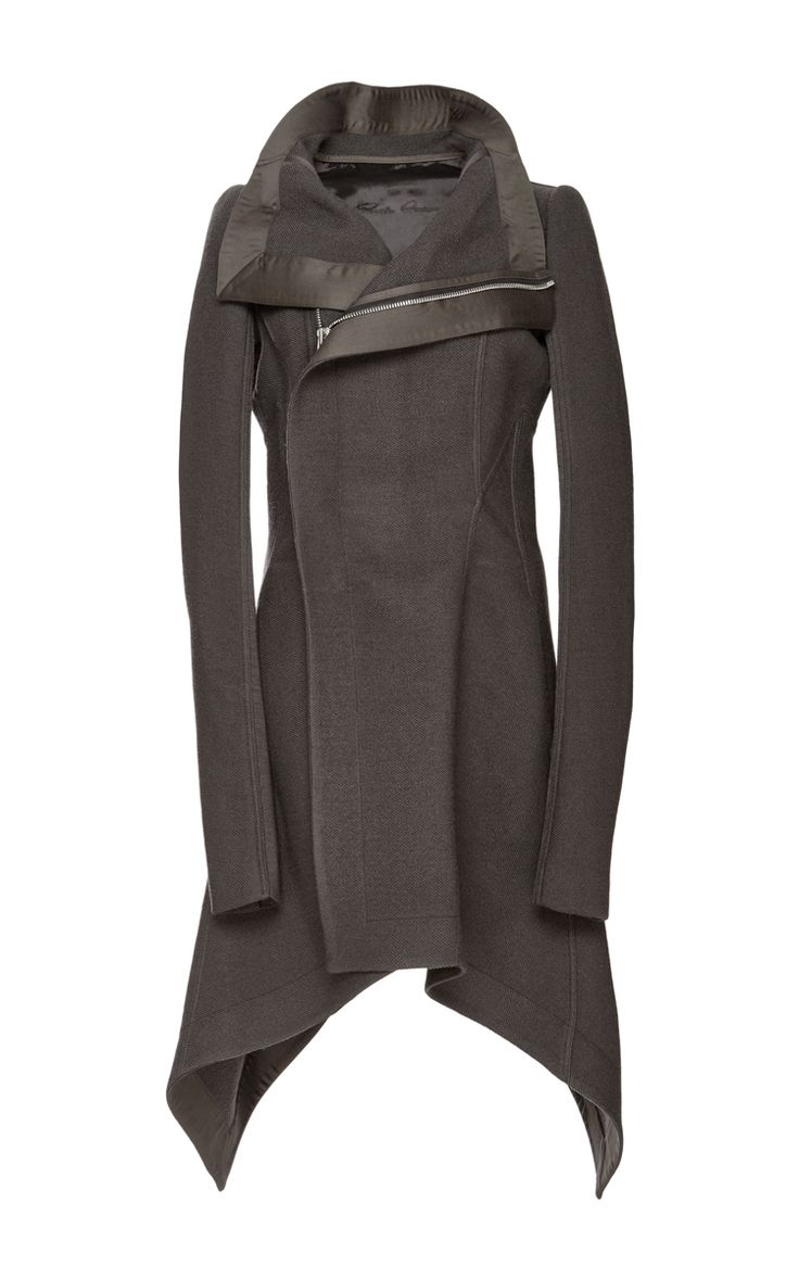 Wool Asymmetric Zip Oblique Biker Coat by Rick Owens Now Available on Moda Operandi
