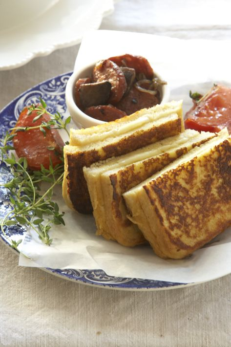 Cheese-filled French toast served with mushrooms and chorizo