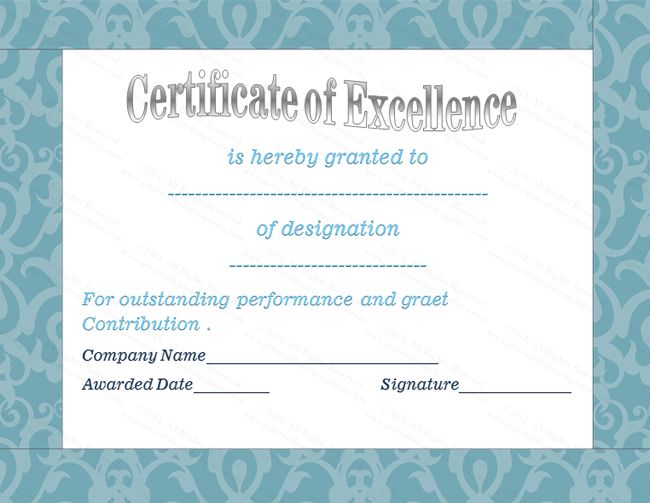 Blue Floral Award Of Excellence Template Certificate