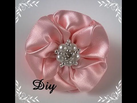 Flor de Fitas de Cetim Passo a Passo -satin ribbon rose ,Rose Tutorial, DIY - YouTube