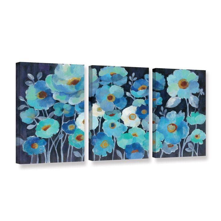 ArtWall Silvia Vassileva's Indigo Flowers, 3 Piece Gallery Wrapped Canvas Set