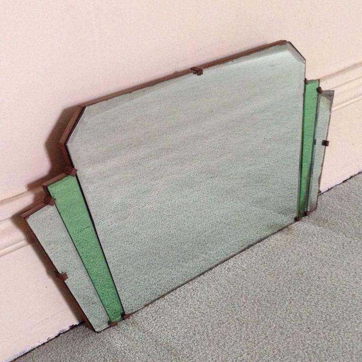 Vintage 1930s ART DECO FRAMELESS MIRROR mantle bevelled GREEN RARE