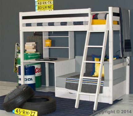 Stoere white wash hoogslaper met bureau n zitje de grijze bedbank kan uitgeklapt worden tot - Hoogslaper met geintegreerde garderobe ...