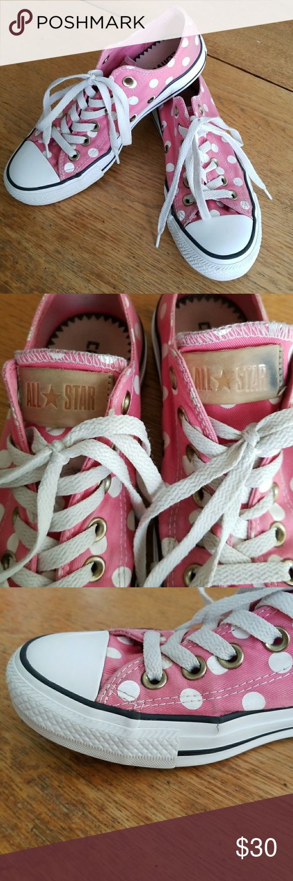 Pink Polka Dot All Star Converse/Chucks Pink Polka Dot Converse in good condition overall with some cracking where shoe usually bends and there's some black on tan all star logo from rubbing against the shoe. But overall really good condition and really adorable pair of shoes. Converse Shoes Sneakers
