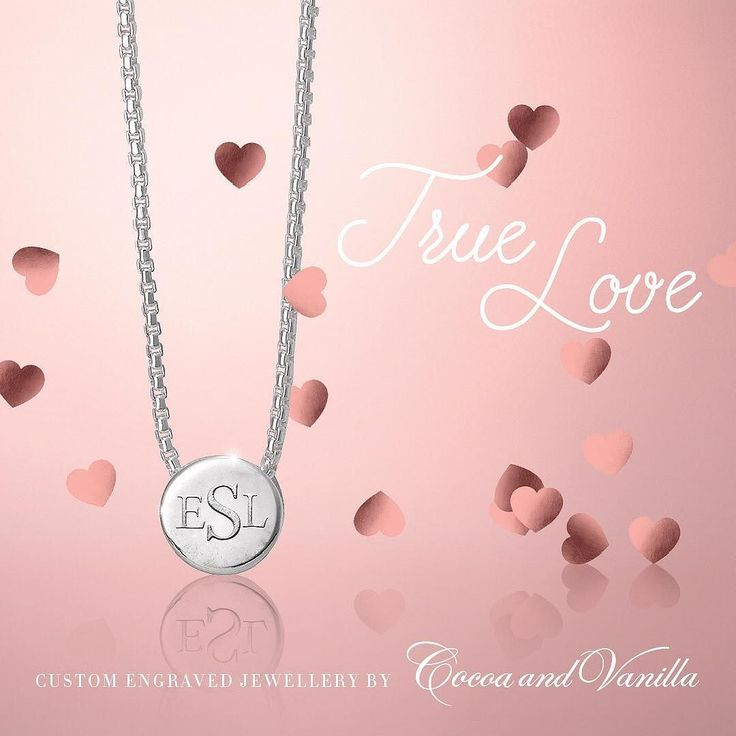 Custom engrave your children's initials with our solid sterling silver monogram necklace for Valentine's Day . Two letter and three letter options available. See in stores or contact us on orders@cocoa-and-vanilla.com . A proof layout will be emailed to you before custom engraving . $195.00 less 10% Valentine's promotion .