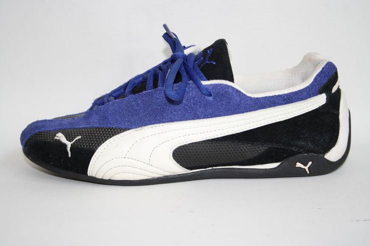 Puma Woman's Shoes Size 5 UK 38 EU Fashion Designer Trainers Blue Leather Fitnes