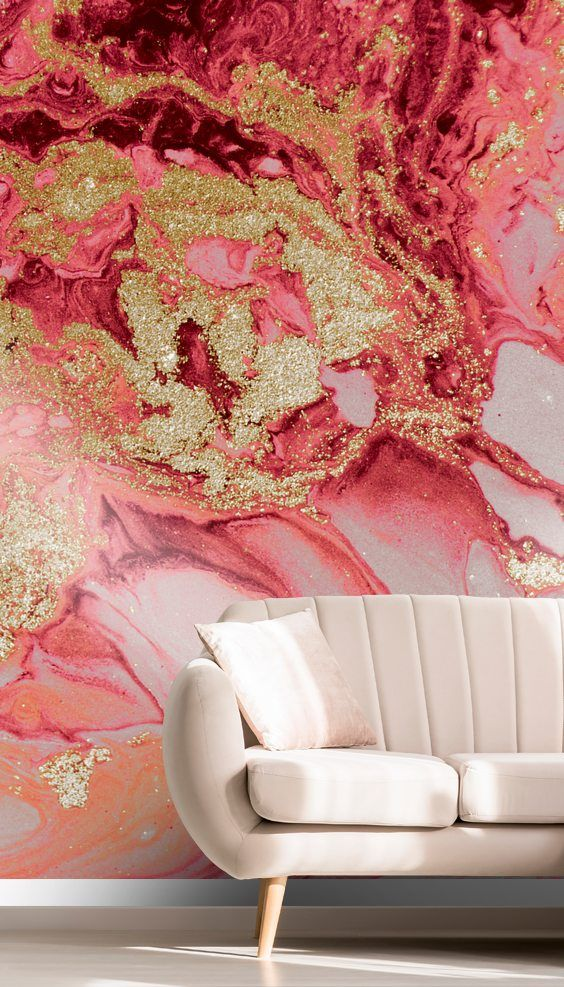 Blush Agate Marble Wallpaper bedroom feature wall, Pink