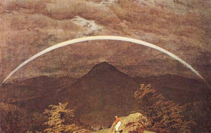 Gebirgslandschaft mit Regenbogen, öl von Caspar David Friedrich (1774-1840, Germany). Im Vordergrund ein Wanderer hat sich erholen lassen. Er wendet seinen Blick auf den Hintergrund, wo ein schwarzer Abgrund auftut und die Berge sich erblicken lassen. Oberhalb der Landschaft ein Regenbogen bildet sich in der abnehmenden Licht an.