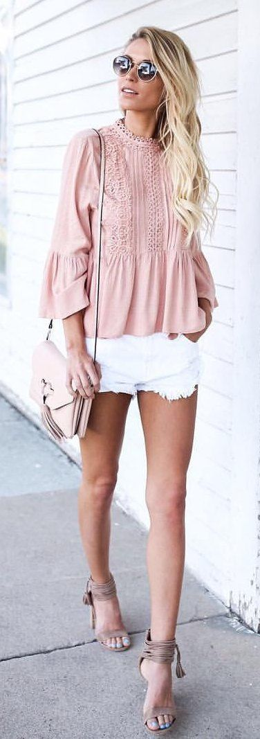 #summer #outfits Pink Blouse + White Denim Short + Grey Sandals