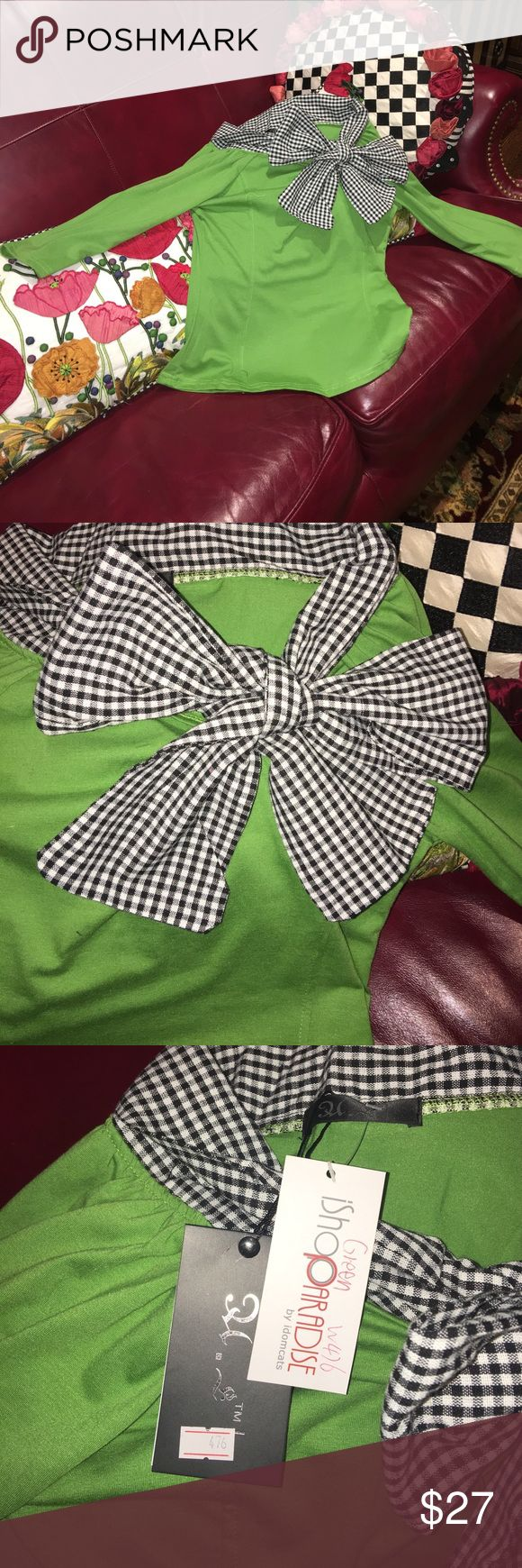 Precious Lime Green Shirt with Black/white Bow This is the cutest Top ever, but it just doesn't fit my daughter...NWT...I promise that you will love it if you can wear an XS...offers always welcome HL Tops Blouses