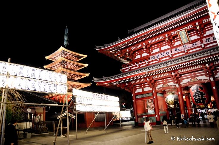 Visite de nuit de Senso-Ji à Asakusa