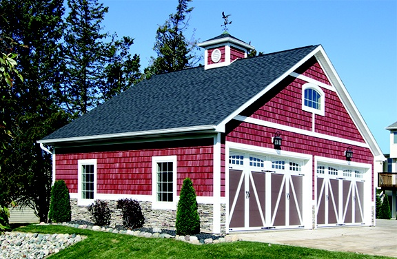 Red Barn With Vinyl Shakes Foundry Specialty Siding