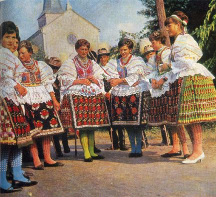 Hungarian women in the 60's in their traditional costumes