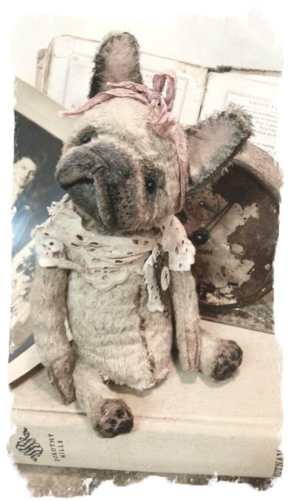 "Image of FRENCH BULLDOG - Shabby Frenchie - 7"" size * By Whendi's Bears"