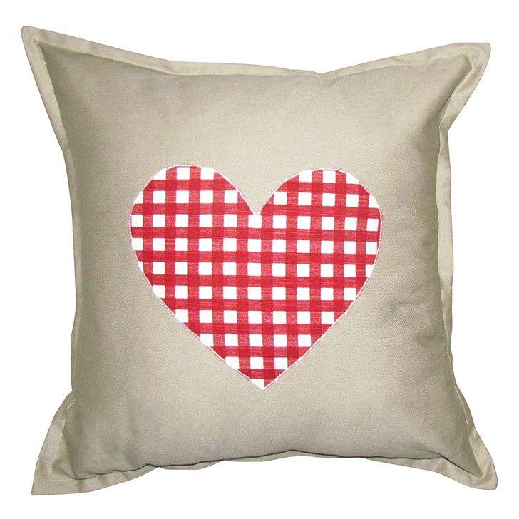 GREY GARDENS   Checked Heart Scatter Cushion #pillow #cushion #homedecor