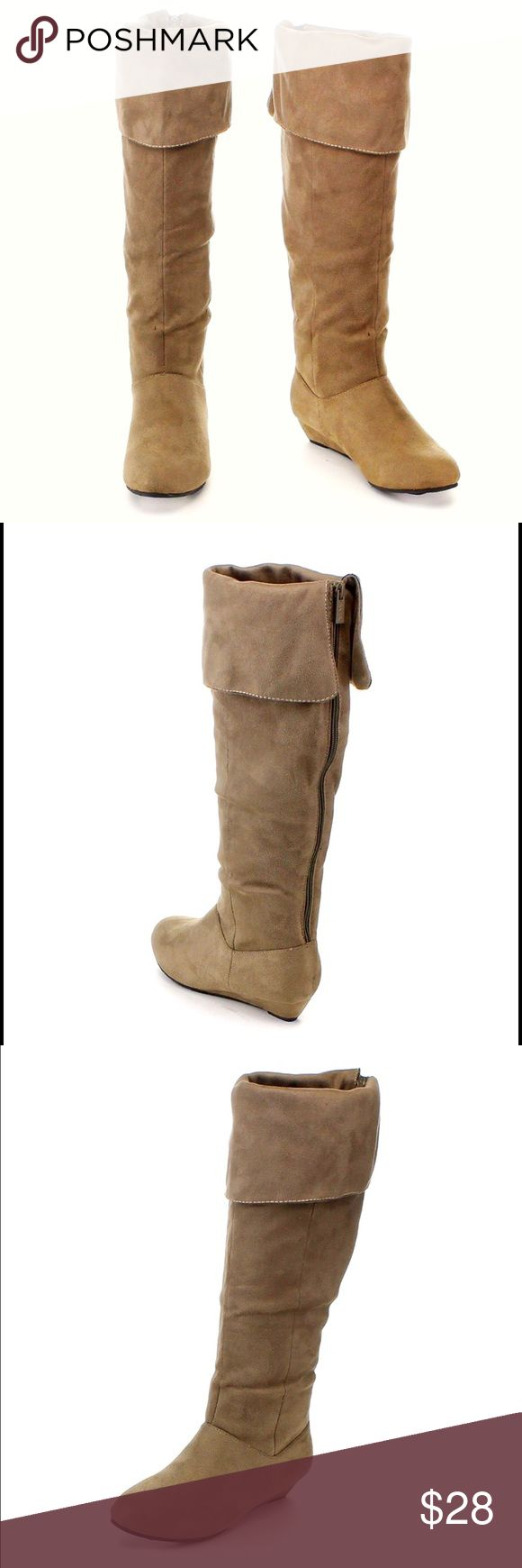 TAUPE FOLDOVER KNEE HIGH WEDGE BOOTS Only worn once for about an hour and look brand new.  taupe color faux suede. Zips up the back. About a 1.5 inch small wedge. Super comfortable. Size 7.5 but also will fit an 8. Also selling these in black. Shoes Over the Knee Boots