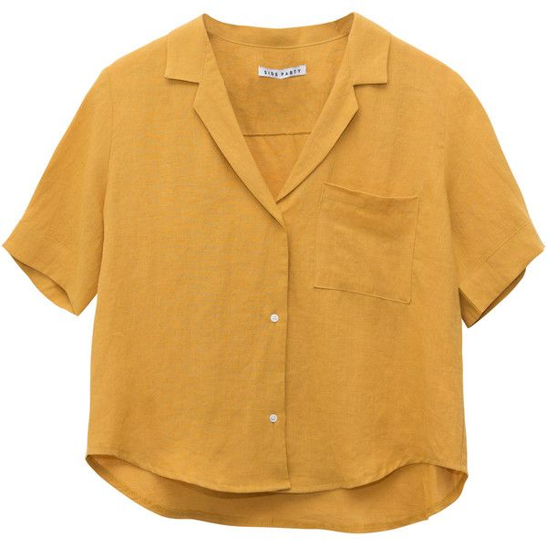SIDE PARTY Philosopher Linen Shirt Mustard LISA SAYS GAH ❤ liked on Polyvore featuring tops, shirts, crop tops, t-shirts, button up collared shirts, boxy crop tops, mustard crop top, button up crop top and brown shirts