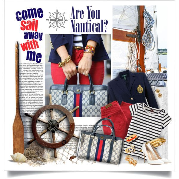 Classy Nautical Red, Navy, and Stripes with Gucci Bag by of-simple-things on Polyvore featuring Lauren Ralph Lauren, Paul by Paul Smith, Gianvito Rossi, J.Crew, Halcyon Days, Kate Spade, Piet Hein Eek, Forum, Nautical and nauticalstyle