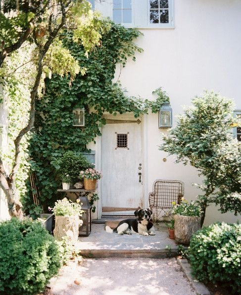 We're daydreaming about coming home to this lovely French-style abode complete with provincial entrance, lush green vines, and furry friend.